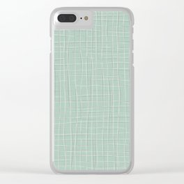 Grey Threads on Mint Clear iPhone Case