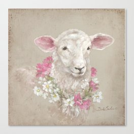 Sheep With Floral Wreath by Debi Coules Canvas Print