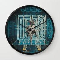 neon Wall Clocks featuring Neon by Imogen Art