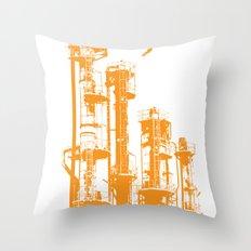 Factory Jump (orange) Throw Pillow