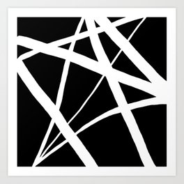 Geometric Line Abstract - Black White Art Print