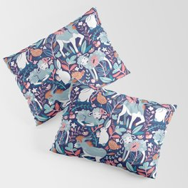 Spring Joy // navy blue background pale blue lambs and donkeys coral and teal garden Pillow Sham