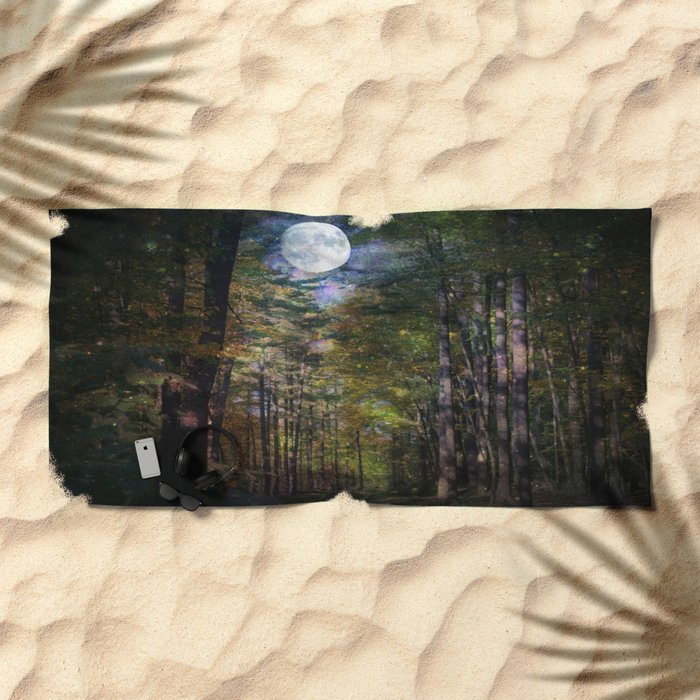 Magical Moonlit Forest Beach Towel