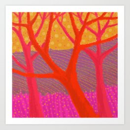 Three Red Trees Art Print