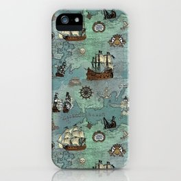Pirate Ships Nautical Map iPhone Case
