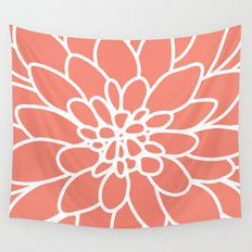 Coral Modern Dahlia Flower Wall Tapestry