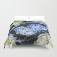 peonies Duvet Covers featuring Peonies by Alden Terry