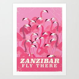 Zanzibar Fly there vintage style travel poster Art Print