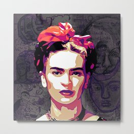 The Face of Frida Metal Print