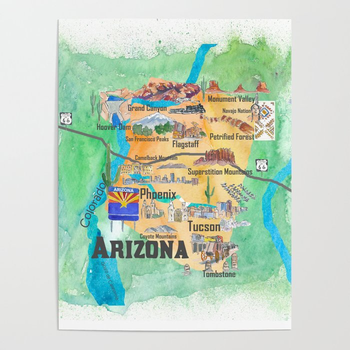 Poster Of Usa Map.Usa Arizona State Travel Poster Illustrated Art Map Poster By
