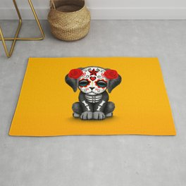 Cute Red Day of the Dead Puppy Dog Rug