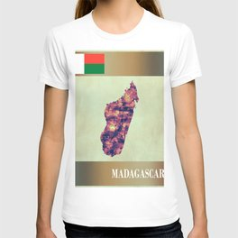 Madagascar Map with Flag T-shirt