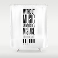 nietzsche Shower Curtains featuring Lab No. 4 - Friedrich Nietzsche Quote life music typography poster by Lab No. 4