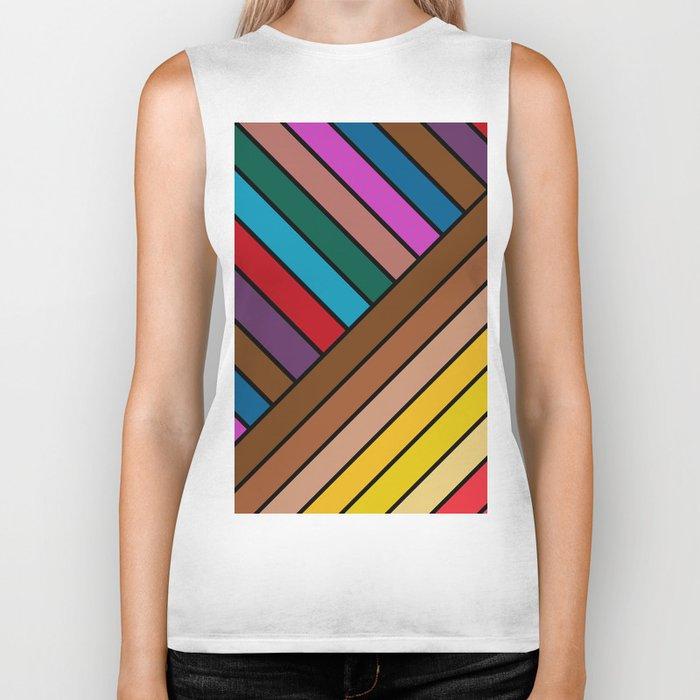 Colorful Lines Biker Tank
