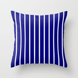 Vertical Lines (White/Navy Blue) Throw Pillow