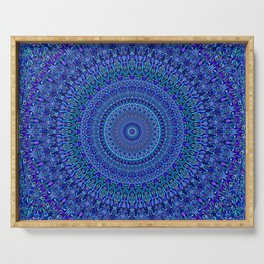 Blue Floral Ornate Mandala Serving Tray