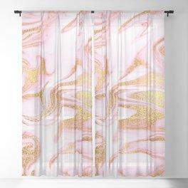 Rose Gold Mermaid Marble Sheer Curtain