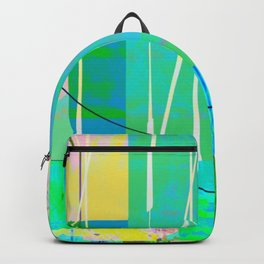 Turquoise Collage Overlay Abstract Backpack