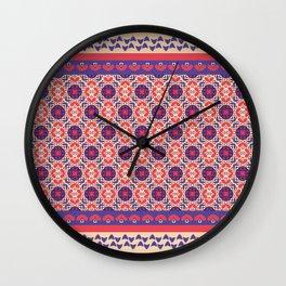 vintage geometric pattern purple and pink Wall Clock