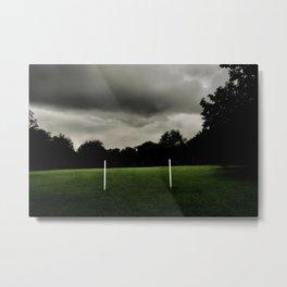Football goalposts in an empty field Metal Print