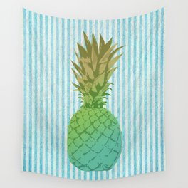 Gold and blue pineapple over blue strips Wall Tapestry