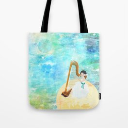 Harp girl: Music from the moon Tote Bag