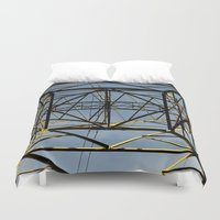 the wire Duvet Covers featuring Metal Wire by Lia Bernini
