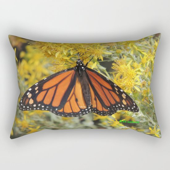 Monarch on Rubber Rabbitbrush Rectangular Pillow