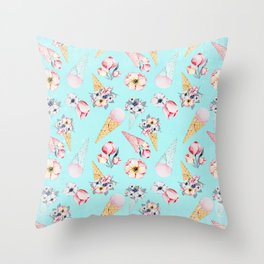 Pink & Teal Summer Fun Flower Ice Cream Cone - Pattern Throw Pillow