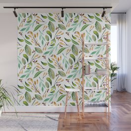 Botanical hand painted watercolor forest green brown foliage Wall Mural