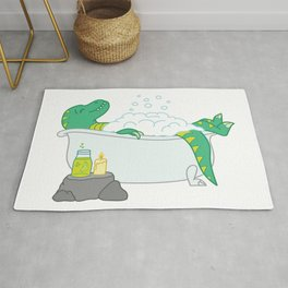 Funny bathing dinosaur spa day illustration Rug