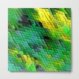 Abstract Green and Yellow Tile design Metal Print