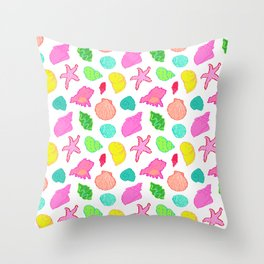 Simply Seashells Toss in White + Rainbow Throw Pillow
