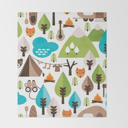 Wild camping trip with fox and wild animals illustration Throw Blanket