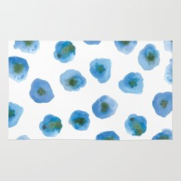 Printed Poppy - Blue Rug