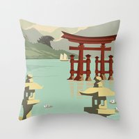 travel poster Throw Pillows featuring Kaiju Travel Poster by Duke Dastardly