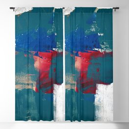 0923: a mixed media piece in teal red and blue by Alyssa Hamilton Art Blackout Curtain