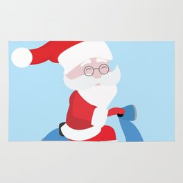 Santa Claus coming to you on his Scooter Rug