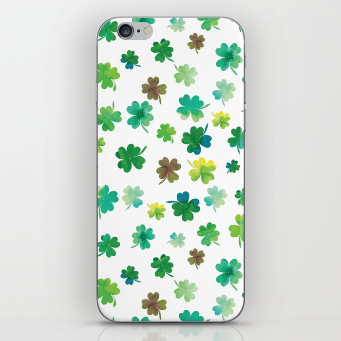 Lucky Watercolor Clovers iPhone Skin