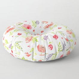 Watercolor Rose Garden Floor Pillow