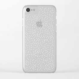 WHITE DOTS Clear iPhone Case