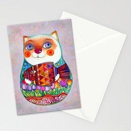CAT  - Russian  Doll  - Matrioshka-  Artist Oxana Zaika Stationery Cards