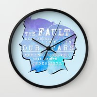 fault Wall Clocks featuring The fault in our stars by //SOLIDS//