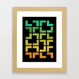 Colorful Watercolor gouache On Black Background Teal Turquoise Yellow Gradient Mid Century Modern Framed Art Print