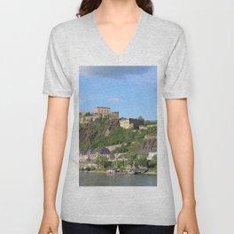 Koblenz mit Festung Ehrenbreitstein Unisex V-Neck