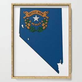 Nevada Map with State Flag Serving Tray