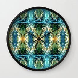 Yellow Green Blue Ice Sculptures Pattern Wall Clock