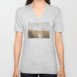 Dutch Dunes And Sea Photo | The Netherlands Landscape Photography | Dutch Landscape Unisex V-Neck