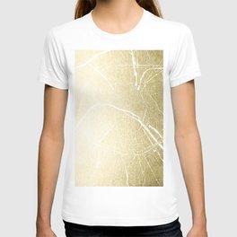 Paris France Minimal Street Map - Gold Foil Glitter T-shirt