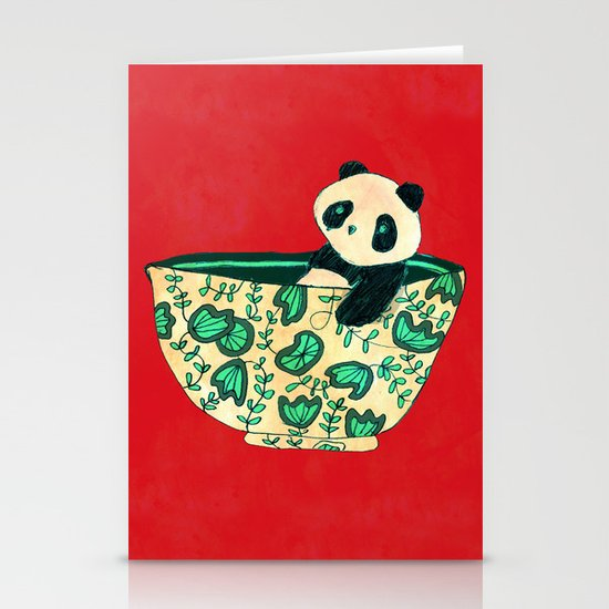 Dinnerware sets - panda in a bowl Stationery Cards